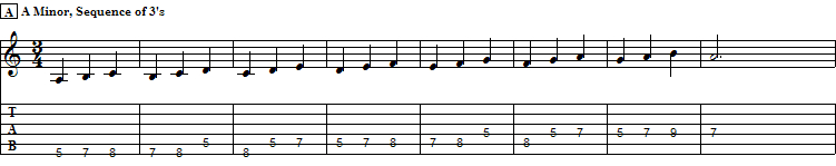"""Ascending Sequence of """"Threes"""" using A Minor Scale in V pos."""