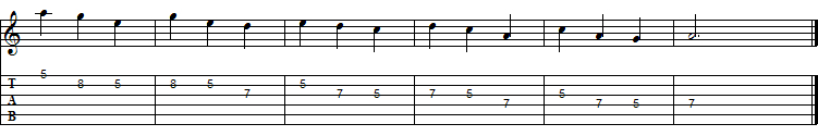 "Descending Sequence of ""Threes"", A Minor Pentatonic Scale in V pos."