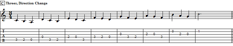 Direction change applied to sequence of threes, C Major Scale, I pos.