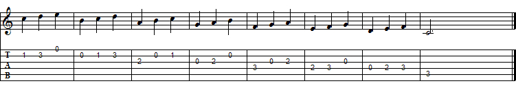 Direction change applied to descending sequence of threes, C Major Scale, I pos.