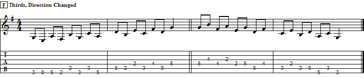 Ascending Thirds with Direction Change in G Major Scale, II pos.