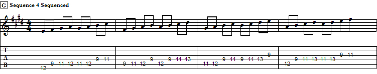 Sequence of Fours further Sequenced in Thirds. E Major Scale, XII pos.