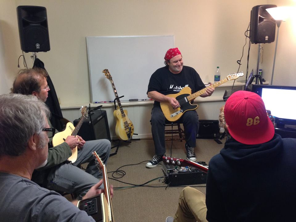 "Guitar Instructor Matthew Woodward presenting ""Mixed Modal Blues Soloing Concepts"" workshop, December 2014."